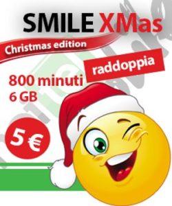 Noitel con l'offerta SIM Tutto Smile Xmas offre 800 minuti verso tutti e 6 GB a 5 Euro ogni 30 giorni