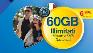 Offerta Lycamobile con Minuti ed SMS illimitati più 60 GB a soli 6.90 Euro/Mese